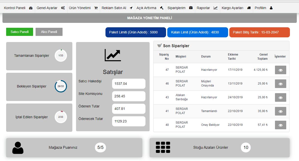 c2c mağaza satıcı yönetim paneli